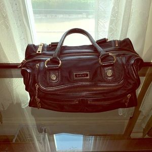 DKNY Black Polyester and Leather Trim Satchel
